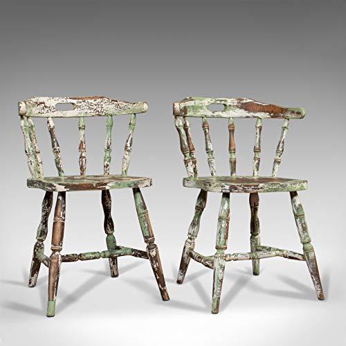Par de sillas Windsor antiguas, francés, haya, sillón con arco hacia atrás, finales del siglo XIX