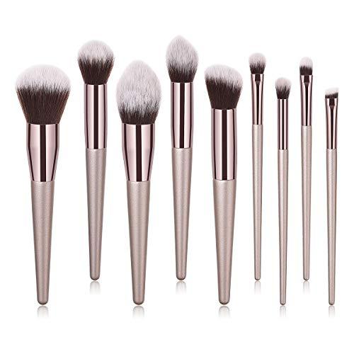 MEIYY Pinceau De Maquillage 4/9 / 10Pcs De Luxe Champagne Or Maquillage Pinceaux Set Fessionnel Poudre Blusher Blender Brush Fessionnel Beauté Outils