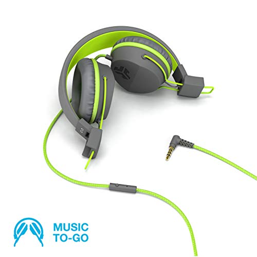 JLab Audio Neon Folding On-Ear Headphones | Wired Headphones | Tangle Free Cord | Noise Isolation | 40mm Neodymium Drivers | C3 Sound (Crystal Clear Clarity) | Graphite/Green