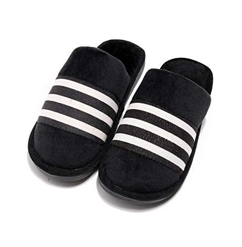Qsy shoe Pantoufles de Coton Maison Automne et Hiver Couple Chaleur Fond épais intérieur Chaud, rayé Noir, 36-37 Convient pour 34-35 Verges