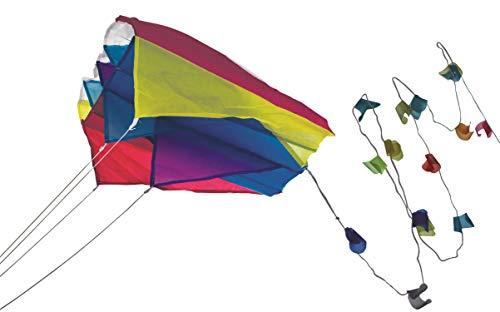 Paul Günther 1189 - Mini Parafoil blau, farbenprächtiger Drachen für die Hosentasche, mit lichtechtem Segel, kann bequem in der Tasche verstaut werden, ca. 60 x 51 cm