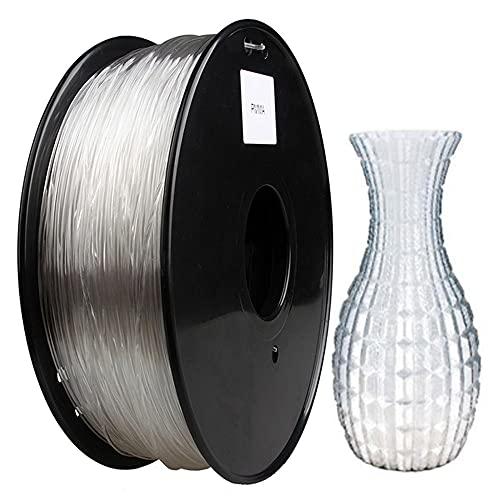 3D Printer Filament, PMMA Filament 1.75mm, Acrylic Material, Pure Transparent and High Light Transmission, 1kg Spool-Transparent 1kg