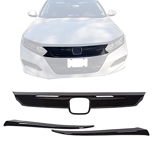ECOTRIC ABS Glossy Black Lip Bumper Front Grille Cover Moulding Trim + Eyelid Cover for Honda 10th Accord Sedan 4DR 2018 2019 (3 PCS!)