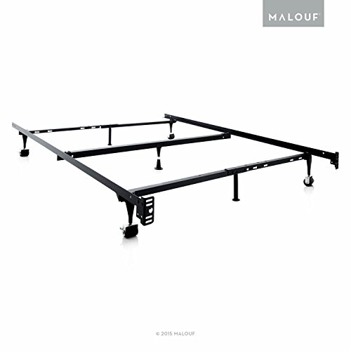 MALOUF Structures Heavy Duty Adjustable Metal Center Support and Rug Rollers bed frame, Queen, Full...