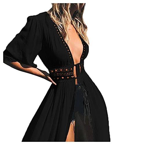 Zimuuy Vestido de Novia de Encaje para Mujer Escote en Pico Bohemio Vestidos Largos para la Playa Sexy de Fiesta Blanco Negro(Negro,XL)