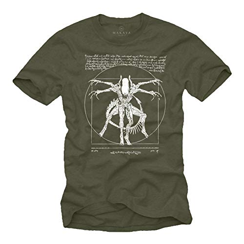 Camisetas Frikis Divertidas Hombre - T-Shirt Alien Isolation - Regalos Originales Geek Verde XL