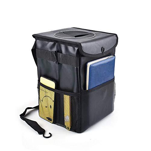 車用 ゴミ箱、多機能PUレザー自動車ゴミ箱、蓋つき防水車ゴミ箱、大容量 折りたたみ車載ごみ箱 簡単に取付可能 お手入れが簡単 転倒防止 マジックテープ付き キャンプ 旅行 汎用