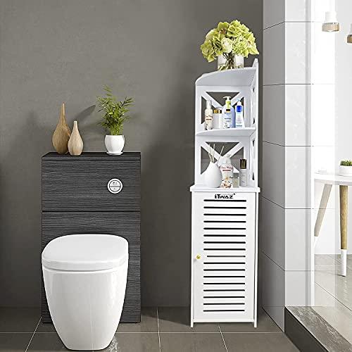 ITWAZ Tall Bathroom Storage Corner Floor Cabinet, Standing Storage for Living Room,Corner Shower Shelf,Waterproof for Bathroom Storage,11.8' Lx11.8Wx46.3H White
