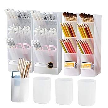 8Pcs Desk Organizer- Pen Organizer Storage for Office School Home Supplies Translucent White Pen Storage Holder Set of 4 4 Cups 20Compartments  White