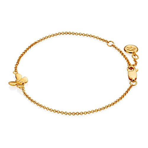 Molly Brown 18ct Gold Vermeil & White Topaz Butterfly Teenage Girl's Bracelet - Perfect for 16th Birthday Gift & Leavers Ball Jewellery
