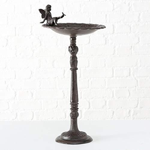 CasaJame Vogeltränke auf Fuß mit Elfe Fee L30cm B30cm H64cm braun Gusseisen Vintage Look