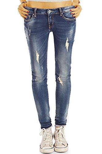 bestyledberlin Damen Destroyed Style Röhrenjeans, Zerrissene Stone Washed Skinny Fit Jeans j39l 38/M