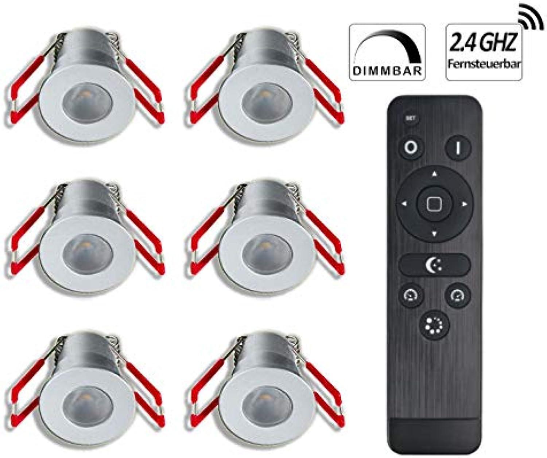 3W LED Mini Einbaustrahler, IP65 Wassergeschützt, Warmwei, Dimmbar, Funk-Netzteil, Minispots für Innen- und Auenbeleuchtung ideal für Terrassenüberdachung, Badezimmer, etc (Silber, 6x Minispot)