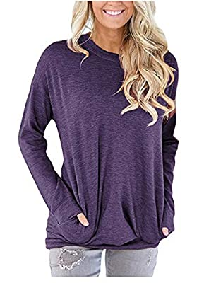 onlypuff Women's Long Sleeve Casual Top Tunics T Shirt Comfy Round Neck Blouse Purple Medium