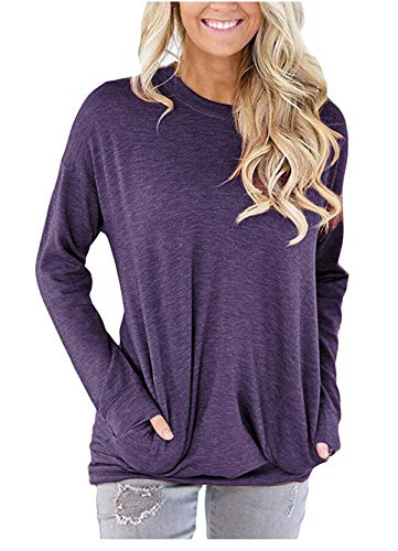 onlypuff Purple Casual Long Sleeve T Shirt for Women Pockets Solid Color Tunic Tops Round Neck Loose Fitting XXL