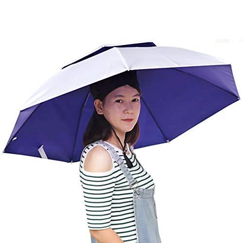 Mayyou Sombrero de Paraguas de la Cabeza del Cortavientos, Adultos Grandes Plegable...