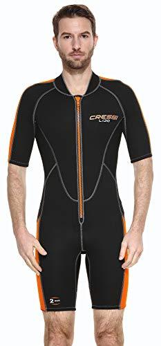 Cressi Lido Man Monopiece Wetsuit 2mm - Traje Corto de Neopreno High Stretch para Hombre , Negro/Naranja , XXXL/7