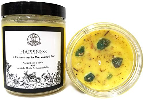 Happiness Soy Affirmation Candle with Blue-Green Apatite Crystals for Joy, Positive Energy & Optimism (Wiccan, Pagan, Meditation, Magick)