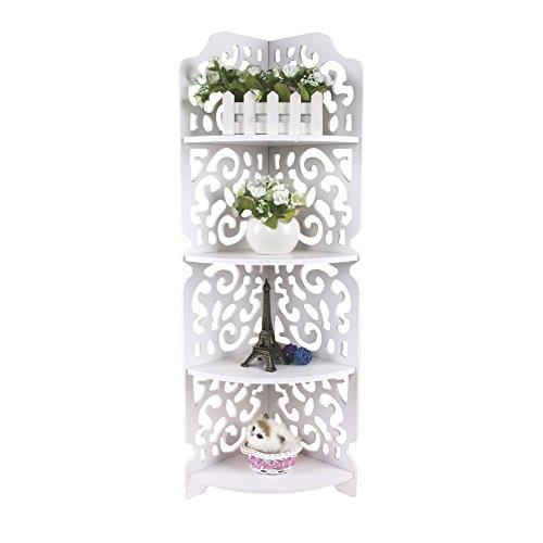 Cocoarm Standregal 4 Böden Eckregal Lagerregal Standregal Bücherregal Regal mit Blumenmuster für Bad oder Küche weiß 80 × 18 × 22 cm