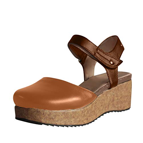 TUDUZ Damen Sommer Casual Rom Schnalle flach mit Sandalen Open Toe Schuhe Flach Sommer Sandalen(Braun,43EU)