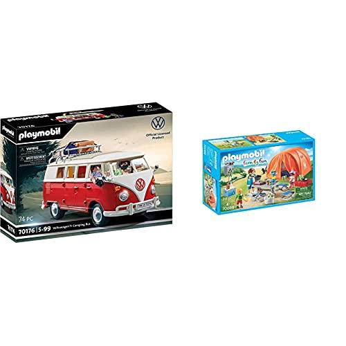 Playmobil 70176 Volkswagen T1 Camping Bus, para Niños A Partir De 5 Años + Family Fun 70089 Tienda De Campaña, A Partir De 4 Años