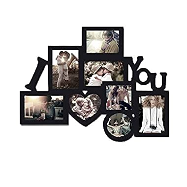 I Love You Picture frame Puzzle Collage Frame, Holds 8 Photos, Easy to Hang, Black Nice Finish! Memory Keepsake!