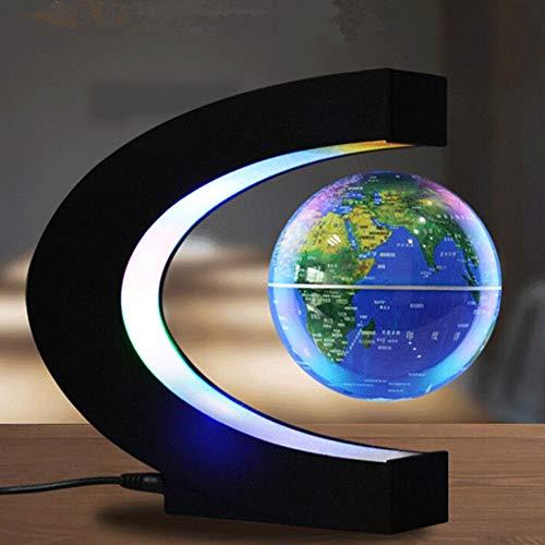Globo terráqueo flotante de levitación magnética con base en forma de C, regalo educativo para niños, decoración de la casa de noche (3 pulgadas), alimentación de regulación europea