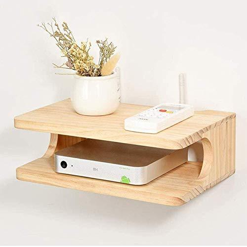 DGDF Flotante madera sólida inalámbrica WiFi router caja de almacenamiento TV pared estante dormitorio sala de estar decodificador estante almacenamiento