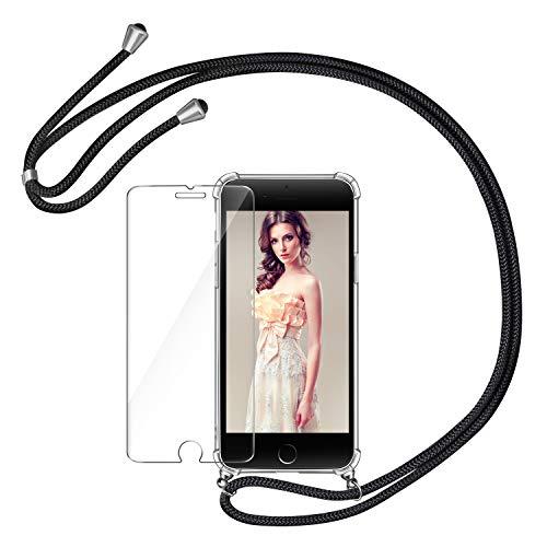 AROYI Handykette Handyhülle & Panzerglas Schutzfolie kompatibel mit iPhone SE 2020 mit iPhone 7 mit iPhone 8 Hülle mit Kordel Umhängen Necklace Band Transparent Schwarz