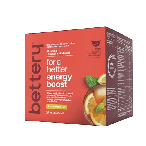 Bettery For a Better Energy Boost (10 x 12 g) - Complemento Alimenticio energético con beta alanina y cafeína naturales de fuentes veganas | Cápsulas para Máquina NESCAFE* DOLCE GUSTO* - Té limón