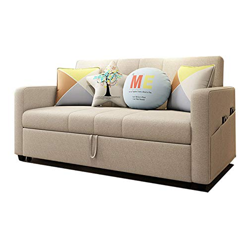 YUYTIN Multifunktionale Schlafsofa Stoff Dreisitziges Sofa Push-Pull Sofabett,Dreisitziges Stoffsofa für Zwei Zwecke,2m