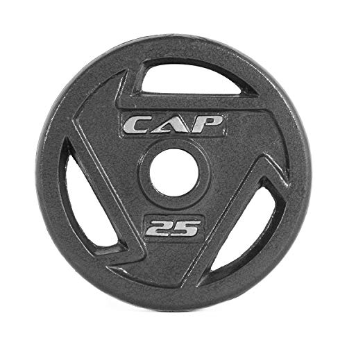 CAP Barbell 2-Inch Olympic Grip Weight Plates, Single, Black, Various Sizes