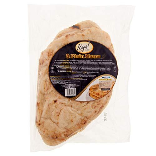 Regal Bakery Oven Baked Naan Brot 3 Stück - Premium Weizenmehl Plain Flatbread - angereichert mit Calcium, Eisen, Niacin - traditioneller indischer Pita - köstlicher Geschmack