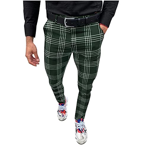 Plaid Pants for Men - Skinny Pants Men – Stretchy Men's Fashion Plaid Pants/Shorts Army Green