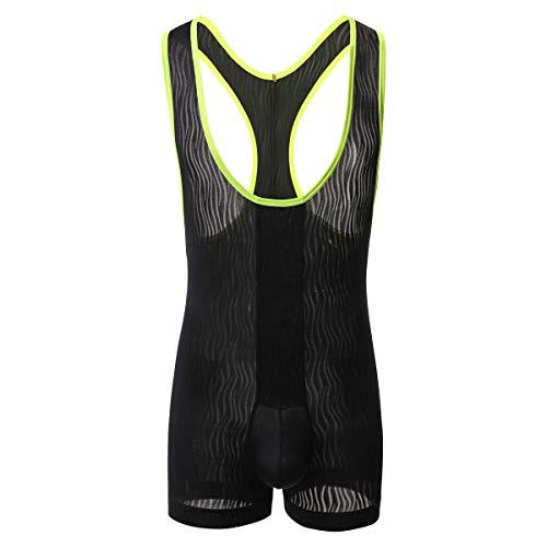 YFD Mens Bikini Slips Unterwäsche Stretchy High Cut Wrestling Unterhemd Leopard String Bodysuit (S, Boxer Body Schwarz)