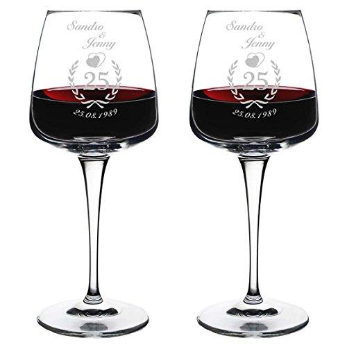 polar-effekt 2 Weingläser mit Gravur - Geschnekidee zur Silberhochzeit - Rotwein-Glas 430ml - Motiv Jubiläumskranz