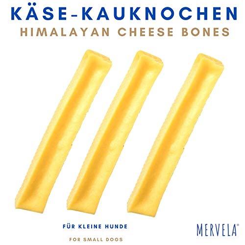 MERVELA Käse Kauknochen für kleine Hunde [41 g pro Stange] - Handgemachter Hundeknochen - Leckerer Käsegeschmack - 100{0c4288a0f35b09886ba36ac4ef35f5bd9154578621aa9375ab64c984140d77da} Natürlich & Zuckerfrei - Optimale Zahnpflege für deinen Vierbeiner (3 Stück)