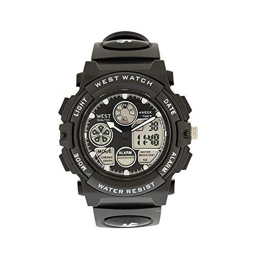 West Concepts–Original–Multifuncional reloj deportivo–teenies–Modelo Rock–Fondo en LED–Función de alarma–Función de cronómetro–antigolpes–Dual Time–Negro
