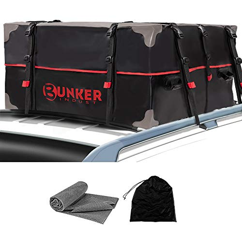 BUNKER INDUST Car Rooftop Cargo Carrier Bag, 20 Cubic Ft Heavy Duty RoofBag Waterproof Luggage Car Top Carrier with Anti-Slip Mat for All Vehicles with/Without Rack Crossbars