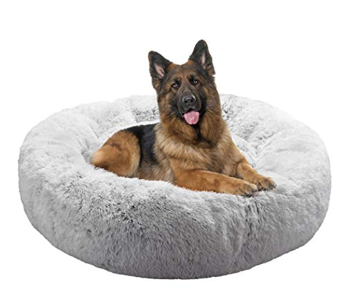 FuzzBall Fluffy Luxe Pet Bed, Calming Donut Cuddler – Machine Washable, Waterproof Base, Anti-Slip (for Extra Large Dogs up to 120lbs)