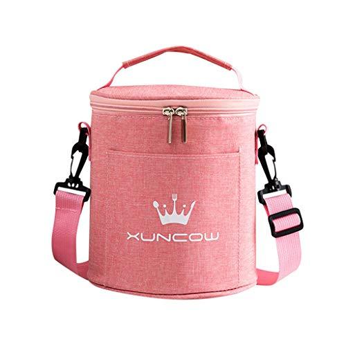 Hunpta@ Lunch Tasche Kühltasche Rund Picknicktasche Schultertaschen Büro Schule Picknick Camping Isolierbox Tasche Handtasche für Erwachsene, Studenten und Kinder