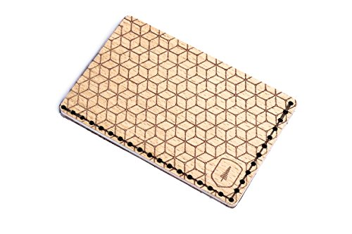 BeWooden Tarjetero de piel y madera Virie Note – tarjetero de cuero para hombre – tarjetero para 25 tarjetas de visita y para 7 tarjetas de credito – tarjetero rigido y duro – tarjetero marrón