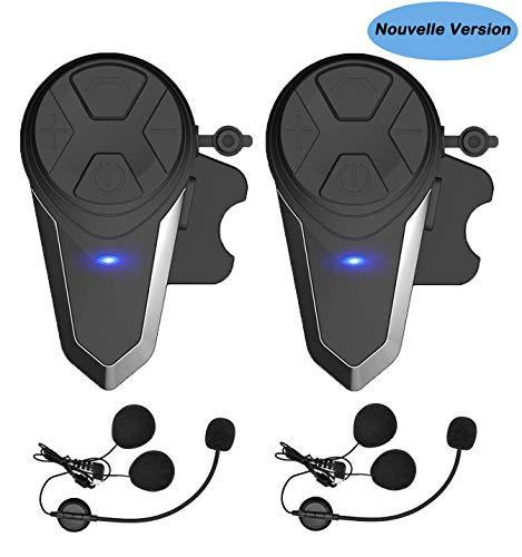 Oreillette Bluetooth pour Moto, Thokwok Kit Main Libre Moto 2 x BT-S3 Intercom Moto Bluetooth...