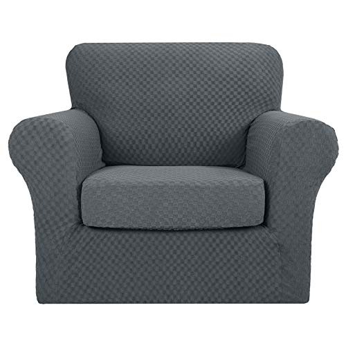 MAXIJIN 2 Piece Newest Jacquard Chair Covers with Arms Super Stretch Non Slip Chair Slipcover for Living Room Dogs Pet Friendly Elastic Sofa Couch Protector Armchair Cover (1 Seater, Dark Grey)