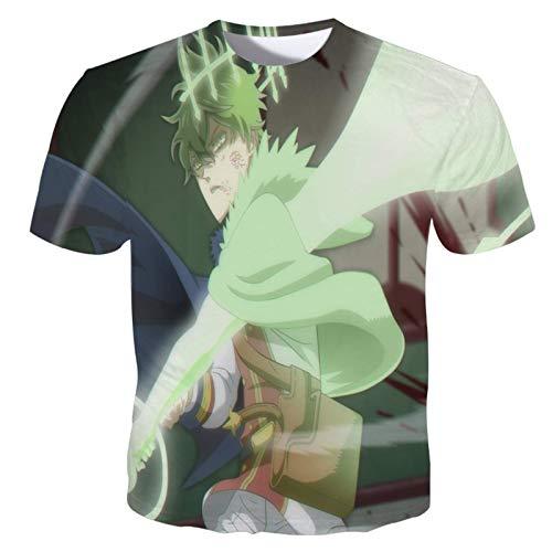 ZOSUO 3D Impresin Anime T-Shirt Black Clover Casual T Shirt Disfraz Manga Corta Camiseta Cuello Redondo Casual Cmodo Respirable Blusas,XXXX~Large