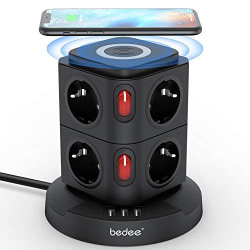 bedee Multipresa Verticale Ciabatta Elettrica con Caricatore Wireless, 8 Prese EU e 3 Porte USB, Torretta Presa Elettrica con Interruttori Indipendenti, Multiprese Elettriche con Protezione, 2M, Nero