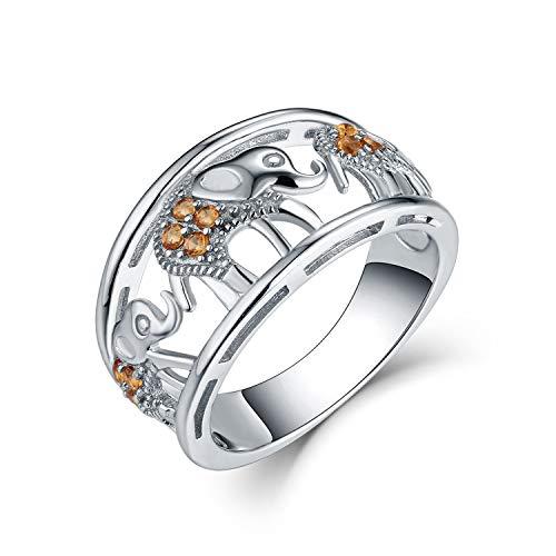 JO WISDOM Mujer Anillo de Compromiso de Plata de Ley 925,Anillo Elefante Suerte Amuleto Animal con Circonita 3A Piedra natal de Noviembre Color Citrino