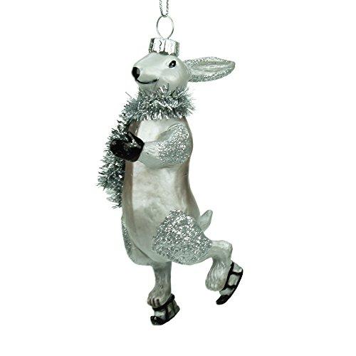 Luxe handbeschilderde haas kerstdecoratie met zilveren lametta sjaal (11cm)