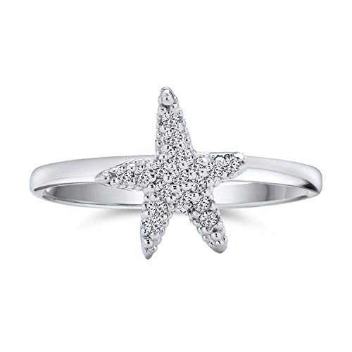 Tiny Pave Cubic Zirconia CZ Nautical Tropical Beach Starfish Ring For Teen For Women 925 Sterling Silver
