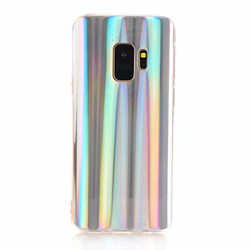 Samsung Galaxy S9 Case, EASEU Holographic Phone Case, Laser Beam Aura Glow Sparkle Bling Reflective Rainbow Super Slim Silver Soft TPU Protective Cover Case for Samsung Galaxy S9